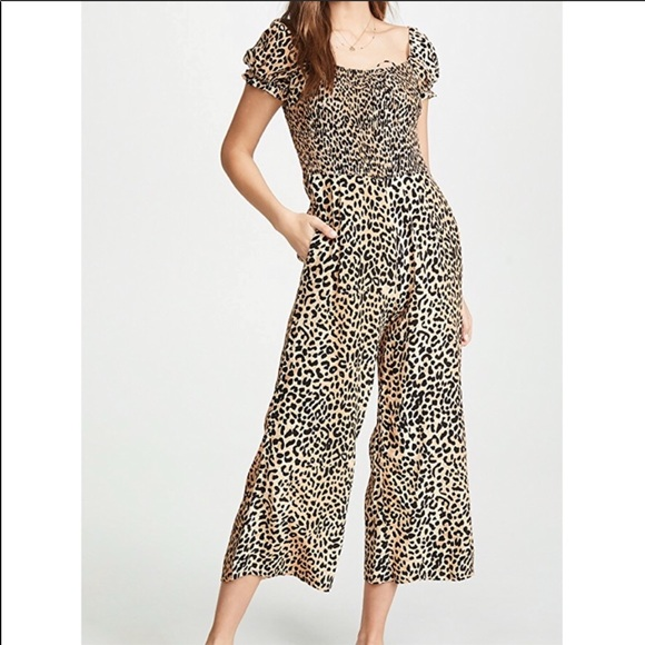 Faithfull the Brand Pants - Faithfull The Brand Della smocked cheetah jumpsuit
